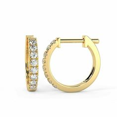RRP £500 0.30 Carat Round Diamond Hoop Earring Yellow Gold #DIAMONDSNEXUS #Hoop