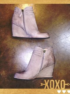 Biala 'Ashton' Wedge Ankle, size 8.5! - We love getting a favorite item in again! These are so cute in taupe! A ribbed topline and studded zipper pulls add interest to this pared-down ankle bootie that's set on a trend-right wedge heel. Still in stores! Like-new.. Org retail $130    SP- $48 #biala #booties #trendy #socute #musthave #ShopPosh #consignment #boutique