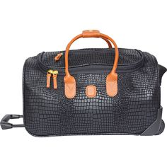 Brics Luggage Mylife SuperLight 21 Inch Carry On Rolling Duffel One Size BlackCognac ** Check this awesome product by going to the link at the image. Carry On Luggage, Travel Luggage, Travel Bags, Rolling Duffle Bag, Brics, Pvc Coat, Duffel Bag, Rolls Royce, Bucket Bag