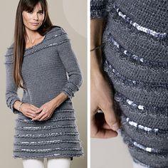 Платье-туника с пайетками - схема вязания крючком. Вяжем Платья на Verena.ru