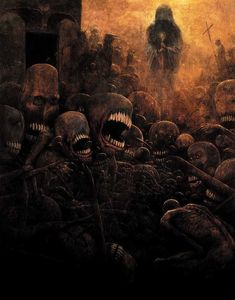 Paintings by Polish artist Zdzislaw Beksinski,Zdzisław Beksiński was a renowned Polish painter, photographer, and sculptor. Beksiński executed his paintings and drawings either in what he called a 'Baroque' or a 'Gothic' manner. Dark Fantasy Art, Dark Art, Arte Horror, Horror Art, Art Sinistre, Art Papillon, Ouvrages D'art, Creepy Art, Gothic Art
