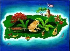 Puerto Rican Coqui | ... home shop by theme coquis coqui on the map of puerto rico by ana noble