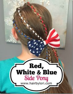Red, White & Blue Side Pony - 4th of July hairstyle