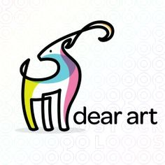 logo template single line drawing of a graceful dear or antelope looking back.