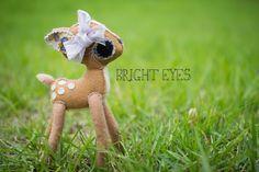 Adorable Handmade Plush Deer by Brighteyesshop on Etsy Woodland Theme, Bright Eyes, Plushies, Boy Or Girl, Deer, Handmade Items, Teddy Bear, Play, Girls