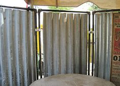 -Industrial Upcycled Steam Punk Tin Metal Room Divider Outdoor Shower ...