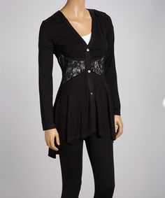 This Panitti Black Lace Sidetail Cardigan - Women by Panitti is perfect! #zulilyfinds