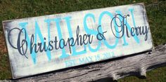 Family name sign, personalized shabby chic handpainted wood wedding established sign. $35.00, via Etsy.