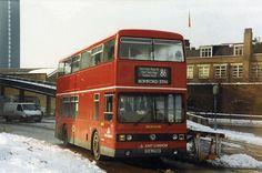 T175 | Stratford, February 1991. | Phil Hambling | Flickr London Bus, London Transport, Great Britain, Buses, Transportation, February, Busses