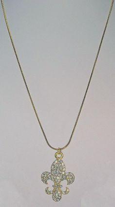 """510604 Gold Large Fleur de Lis 18"""" Snake Chain"""