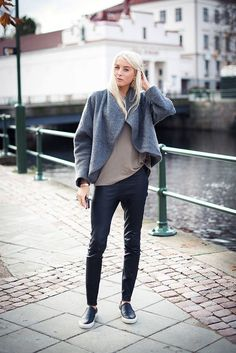 Leather Leggings + Slip on Sneakers | Fall Fashion Trends