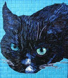 Portret van glasmozaiek en ijzerdraad
