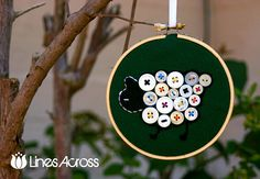 DIY Button Sheep Embroidery Hoop Ornament