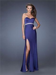 Mermaid Satin Sweetheart Beaded Waist Side Slit Prom Dress PD2602 www.simpledresses.co.uk £99.0000