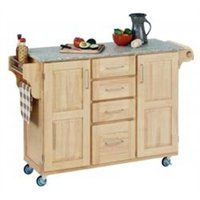 Mix & Match 2 Door w/ 4 Drawer Kitchen Cart Cabinet, Natural Finish, 52-1/2 in. W x 18 in. D x 36 in. H, Grey Granite Top