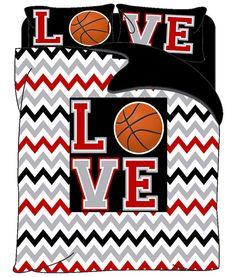 Monogrammed Love Basketball & Chevron  bedding Red by redbeauty