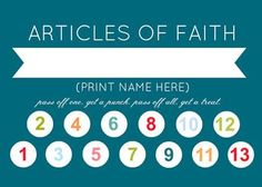 Camille's Primary Ideas: Article of Faith Punch Card, In 2014 our family will memorize all 13 articles of faith.