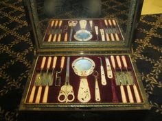 Antique Huge Dental Chest Mother of Pearl and Bone Instruments Baltimore 1850