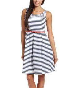 White & Navy Stripe Belted Sleeveless Dress - Women