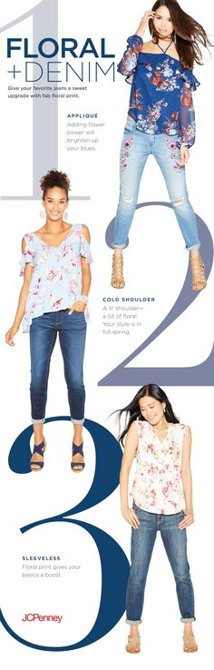 Blue jeans giving you the blues? Brighten up with vibrant floral print and denim spring outfit. Whether on a cold-shoulder top, sleeveless v-neck or an applique, it's the easiest way to take your casual spring vibes up a notch. Add a pair of open-toe sandals, and you'll never want spring to end.