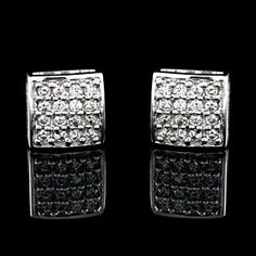 1/3 Ct Round VVS Diamond Genuine Real Solid 9k White Gold Square Stud Earrings by JewelryHub on Opensky