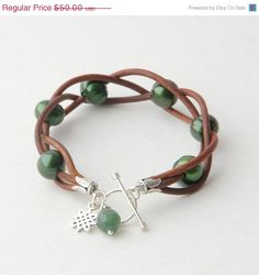 Emerald Green Pearl Leather Bracelet. Freshwater by SunlightSilver, $42.50 (Inspiration for all the 2mm leather I have)
