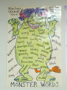 ( and a bunch of FREEBIES too!) Confessions of a Teaching Junkie: More Monster Mischief! ( and a bunch of FREEBIES too!)Confessions of a Teaching Junkie: More Monster Mischief! ( and a bunch of FREEBIES too! Writing Lessons, Teaching Writing, Writing Activities, Teaching English, Writing Ideas, Teaching Ideas, Adjectives Activities, Grammar Activities, Teaching Grammar
