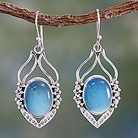"""HELP UNICEF"" ~ Blue Chalcedany Sterling Silver Dangle Earrings, 'Passion Leaf' ~ market.unicefusa.org"