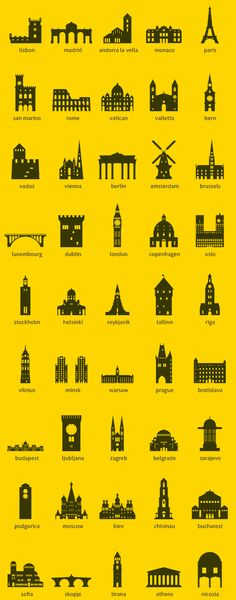 Buy European Capitals by balazs-hegedus on GraphicRiver. European capitals symbolized by their main landmark building Files Included: Illustrator file (. Simbolos Tattoo, Kunst Poster, Icon Set, Icon Design, Design Design, Tatoos, Travel Inspiration, Graphic Design, Tattoo Budapest