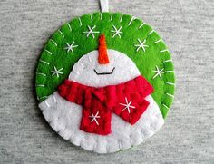Christmas, tree ornaments, felt snowman, home decor, felt christmas ornaments, felt ornament, embroidery handmade, PRICE PER 1 ITEM blue - ornament with loop (or magnet) green white red Christmas snowman, christmas tree ornament, Applique Ornaments, home decor, handmade embroidery Felt is a very soft, pleasing and environmentally friendly material. Felt ornament look great in any room. This ornament will serve you for a long time, you can take it away and hang again! It will be a perfect...