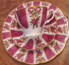 Royal Albert Ruby Celebration Teacup Saucer Plate Trio Old Country Rose