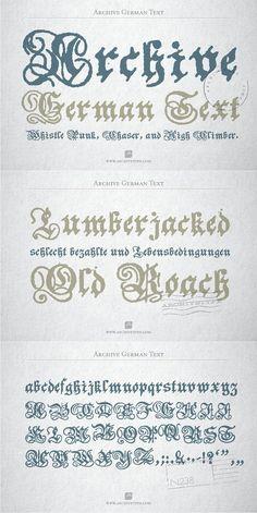 Archive German text. Blackletter Fonts. $9.00