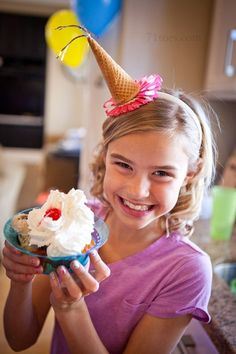 Fun IceCream Cone Birthday Hats, using headbands!  LOVE this idea!!!  Plus really fun games for a 9 year old's birthday party!!