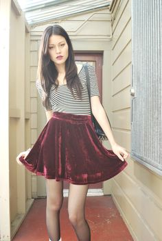 American Apparel makes the most beautiful Velvet skirts. Velvet tends to weaken my soul a tad and these skirts are devine. I have a few friends who also have a similar opinion, I hope to see this in my santa sack on Christmas morning! - Find Hundreds of Top Online Womens Wear Stores via http://AmericasMall.com/categories/womens-wear.html