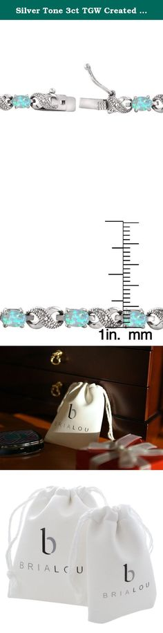 """Silver Tone 3ct TGW Created Blue Opal & Diamond Accent Infinity Bracelet. This attractive bracelet represents your everlasting relationship with the infinity links it showcases. The infinity design is separated by oval created blue opal stones. One genuine diamond is pave set in the midst of dotted pave detailingâ€TMs; simulating shimmering stones. The bracelet is secured by a box tongue with a safety latch. Diamond has less than 17 facets. Bria Lou = """"Every Day, Inspired"""". """"Every Day"""" as…"""