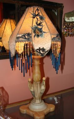 1920s Art Deco/ Asian Alabaster Carved Birds Antique table lamp Boudoir Beaded One of a kind