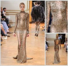 Wholesale Evening Dresses - Buy Gold Pageant Dress High Collar Bedazzled Stretch Sheath Gown with Sheer Sleeves CRYSTAL And Beaded Luxury Elie Saab Evening Dresses NO12, $482.05 | DHgate