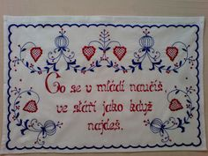 Vyšívaná kuchařka Ručně vyšívané bavlněné bílé plátno, rozměr cca 80x60 cm. Možnost po domluvě zhotovit v jiné barvě vyšívky, případně i plátna s dodáním nejpozději do tří týdnů. Embroidery Patterns, Folk, European Countries, Czech Republic, Needlepoint, Needlepoint Patterns, Popular, Forks, Folk Music