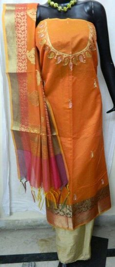 Aari work with banarsi silk fabric with banarsi silk dupatta fabric  Bottom cotton silk price 1650/pc Send inquiry or join our broadcast list on Whatsapp (9929033908) #banarsiSilk #dressMaterial