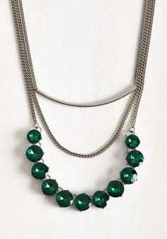 Choose Your Own Treasure Necklace - Green, Rhinestones, Special Occasion, Party, Holiday Party, Colorsplash