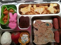 Pb bunny, turkey bunnies,  pumpkin seed easter eggs,  egg bunny,  strawberry heart, carrots in a bunny cup,  pink bunny peep, cheese bunnies in veggie carrot straws, and a fruit leather bunny
