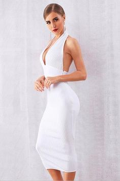 Sleeveless halter neck backless ribbed party knee length bandage dress Details Spandex, Lace, Polyester Knitted Imported Dry Clean Only Fits True To Size My Sweet Valentine, Bandage Dresses, Online Fashion Stores, All White, Club Dresses, Affordable Fashion, Backless, High Neck Dress, Lace