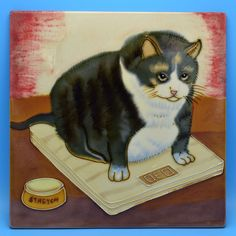 "Fat Cat Tile 12"" Decorative Hand-painted Overweight Feline on Scale DED Stretch"