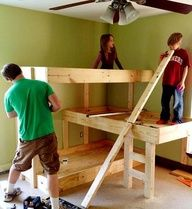 DIY Three Level Bunk Bed... gotta build this!!!  Image Source