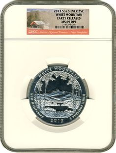 White Mountain 5 Ounce Silver Coin - NGC Certified MS-69 Early Release DPL - MintProducts.com -