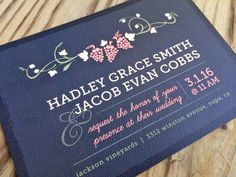 Napa Nuptials Vineyard Wedding Invitation by ©MalloryHopeDesign malloryhopedesign.etsy.com