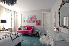 Paint colors that match this Apartment Therapy photo: SW 6258 Tricorn Black, SW 7075 Web Gray, SW 7618 Deep Sea Dive, SW 7673 Pewter Cast, SW 7014 Eider White