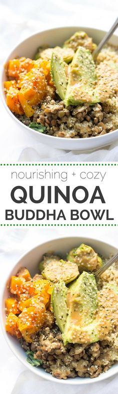 This cozy Quinoa Buddha Bowl makes the most EPIC dinner or lunch -- just follow these 5 simple steps and you can have a custom bowl of plant-based food every time