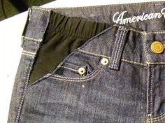 The Chipper Snipper: Maternity Makeover -- How To Turn Regular Jeans Into Maternity Jeans. Use old leggings for the black Altering Jeans, Altering Clothes, Diy Jeans, Maternity Pants, Maternity Fashion, Maternity Styles, Diy Clothing, Sewing Clothes, Abaya Mode