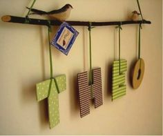 hanging letters Lamb This would look cute above their cribs with a little fabric bird on each Baby Decor, Nursery Decor, Felt Crafts, Diy And Crafts, Hanging Letters, Fabric Birds, Boy Room, Decoration, Kids Bedroom